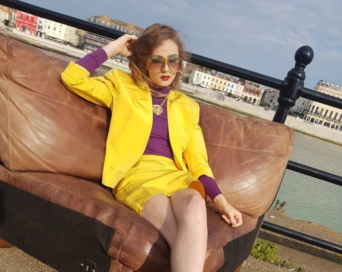 Vintage Early 1990's 90's Gianni Versace Daffodil Yellow Silk 2 Piece Skirt Jacket Suit S M