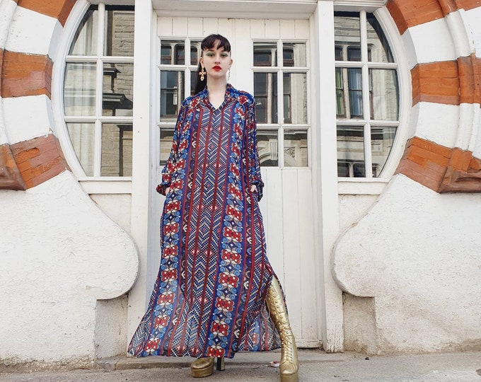 Beautiful Vintage 1970s 70s Block Print Indian Cotton by Rashna Vibrant Blue and Red Maxi Kaftan Dress Trumpet Sleeves S M L Hippie Boho