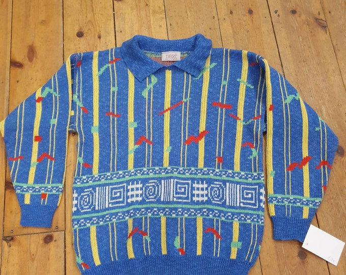 Vintage 1980s 80s Next Abstract Rave Print Jumper M