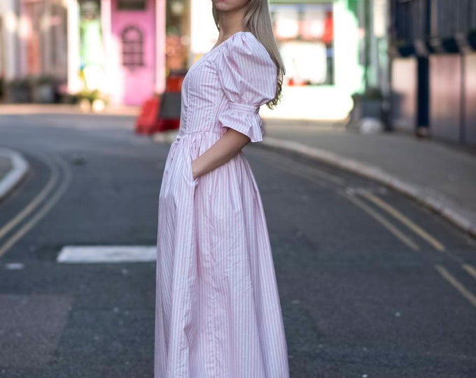 Pretty 1980s 80s Fairytale Vintage Laura Ashley Puff Sleeve Candy Stripe  Ball Gown Maxi Milkmaid Dress with Pockets S M size 8-10