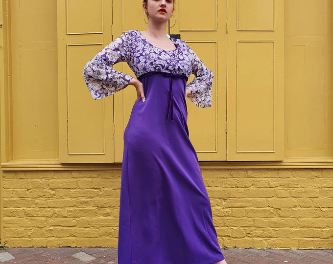Gorgeous Vintage 1970's Purple Printed Lace dress empire waist, velvet ribbon trim with long gathered sleeves!