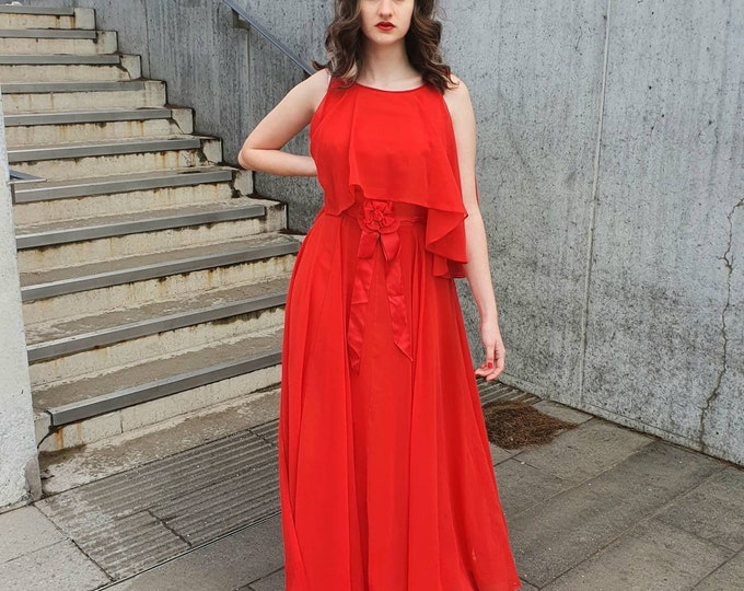 Vintage 1970s 70's Red Sheer Georgette Chiffon layered Jean Varon  Floaty Maxi Dress with Corsage and Tie Back Detail - M