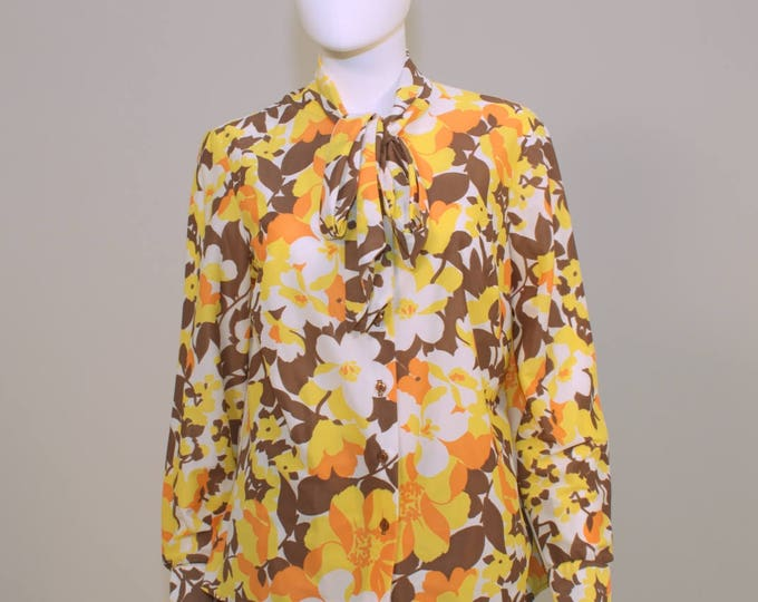 Vintage 70's Nylon Floral Pussy Bow Blouse Tie Front 40 inch bust M
