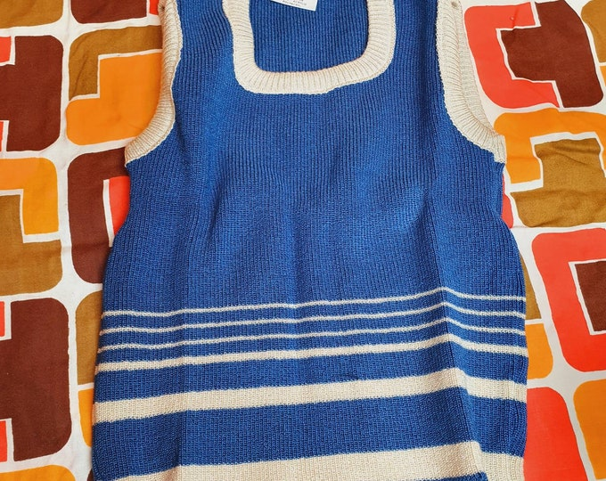 Vintage 1970s Deadstock Unisex Blue and White striped Children's Tanktop age approx 8 - 10 Girl Boy
