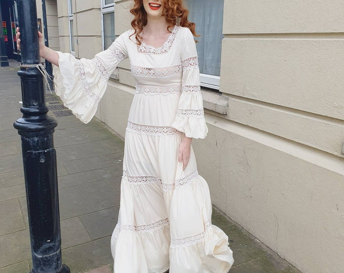 Vintage 1970s 70s Cream Poly Jersey and Crochet Ronald Joyce Maxi Dress Mexicana Style Huge  Flounce Sleeves S UK 6
