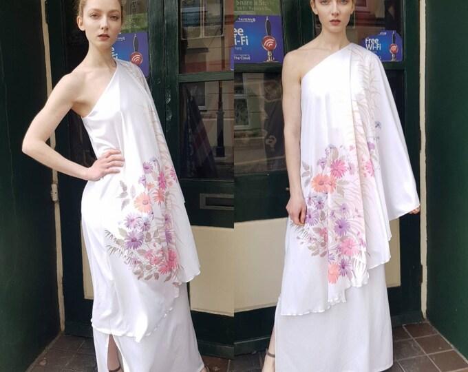 Vintage 70s White Floral Disco Goddess One shoulder Maxi Dress S 1970s Vtg