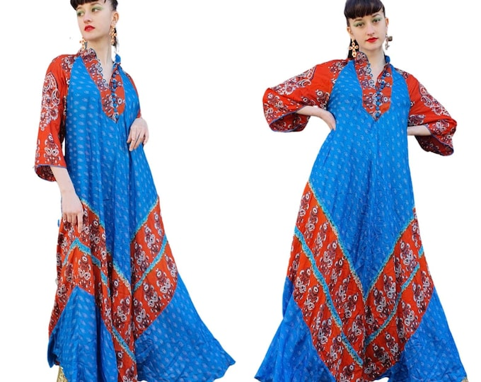 Beautiful Vintage 1970s 70s Block Print Indian Silk Vibrant Blue and Red Maxi Kaftan Dress Trumpet Sleeves S M L Hippie Boho