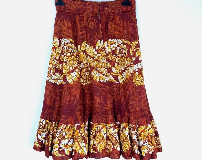 Vintage 1980s Cotton Batik Knee Length Skirt M