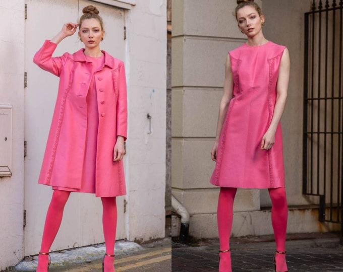 Vintage 1960s 60s Bubble Gum Pink Two Piece Coat and Dress Ensemble Soutache Detail M