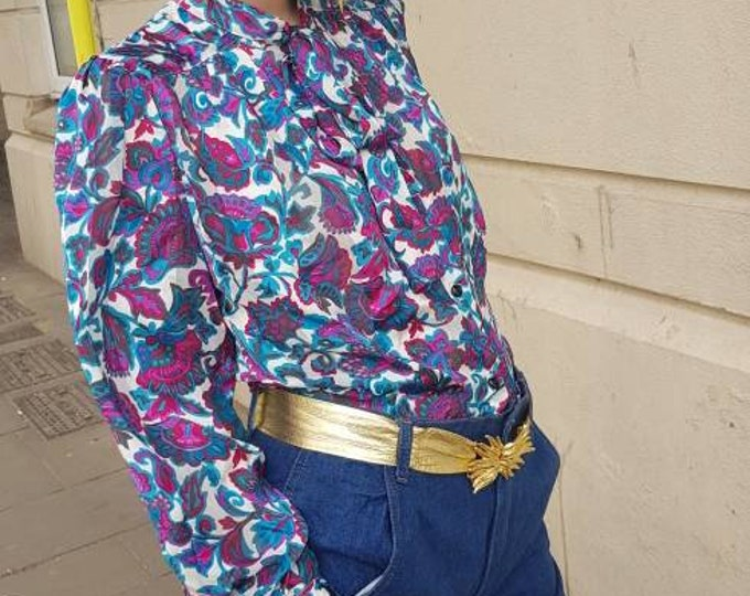 Vintage peek a boo semi sheer pussy bow 80s blouse  m l