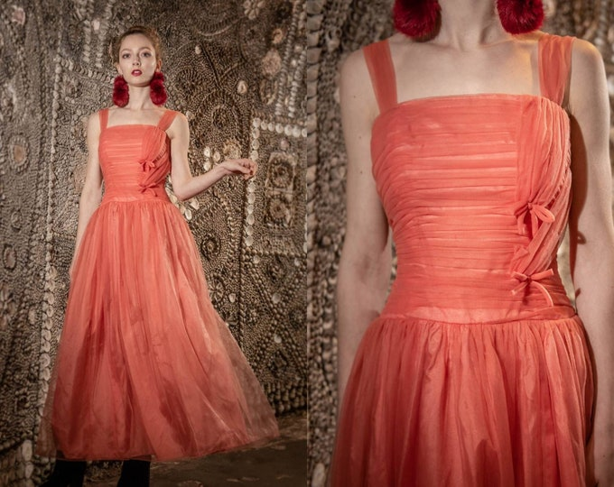 Floaty vintage 1960's Pale Coral Prom dress Xs Evening Gown Vtg