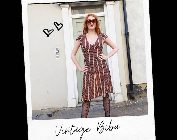 Vintage 1970s does 1930s  Big Biba Empire Line Oxblood and Beige Knee Length Dress S M