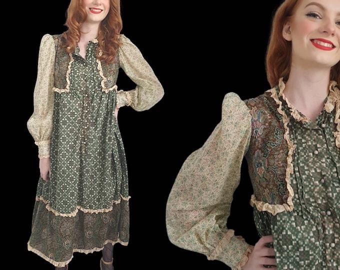 Vintage VTG  1960s 60s 70s RARE Gina Fratini Cotton and Lace Midi Tent Prairie Dress Boho Luxe S M L