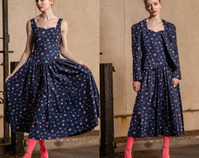 505e8a27db Vintage 80s does 50s Laura Ashley Full Skirt Cotton Navy Blue Floral Dress  Matching Jacket S