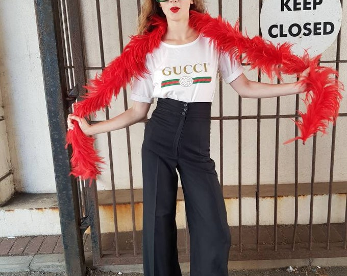 Vintage plush luxe glossy 70s Chelsea Girl Red Feather Boa with Original Bag Glam Rock Scarf original receipt