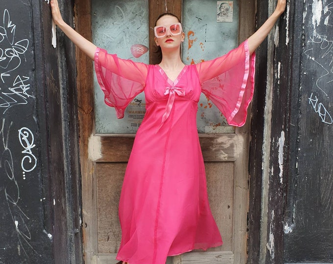 Hot Pink Floaty Vintage 1970s 70s  Sheer Angel Sleeve Maxi dress New Old Stock M
