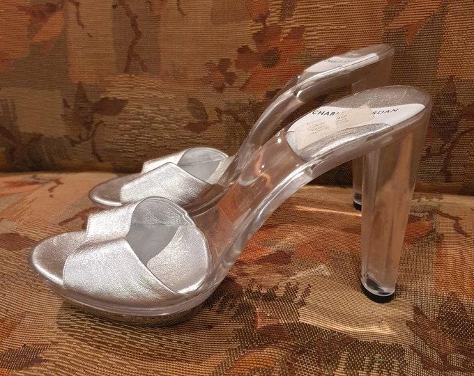 Vintage 1970s 70s Charles Jourdan High Perspex Heel Platform Metallic Silver Mules Shoes Size 4 37