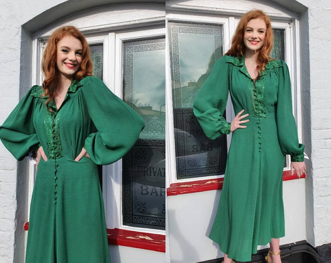 Fabulous 1970s 70s Vintage Ossie Clark for Radley Green Crepe Moss and Damask Satin Button Front Maxi Dress M