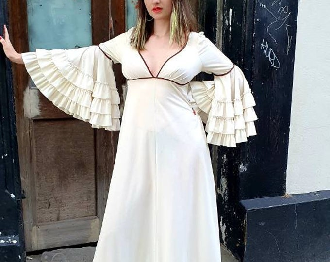 Gorgeous Vintage 1970's Cream Dress  with  Super sized frilly sleeves! Long dress with empire waist and frilly hem and brown trim detail M