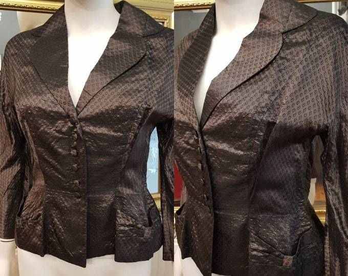 Vintage 40s 1940s Two Toned Silver Metallic Evening Fitted Jacket  S M Pockets