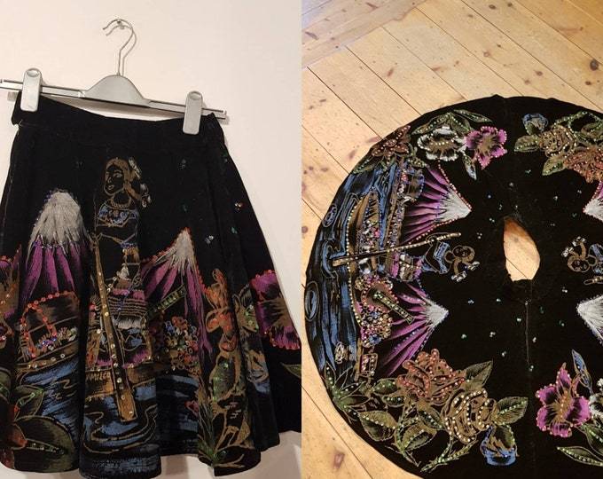 Vintage 1950s 50s Velvet Mexican Hand Painted and Sequin Full Circle Tourist Skirt  28 waist Miss Xochimilco Mexico Short petite