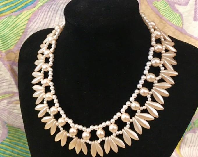 """Vintage 1950 Pearl Bead necklace. Adjusting size with secure hook fastening 14""""-16"""""""