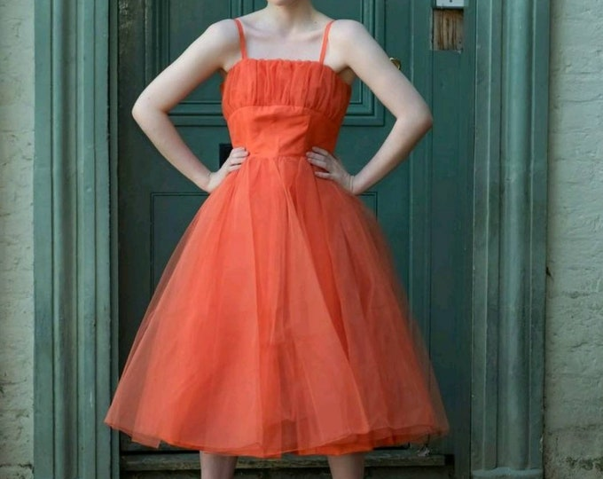 Vintage 1950s | Frothy Cupcake | Coral Orange Tulle Net | Party Prom Dress | 27 Waist