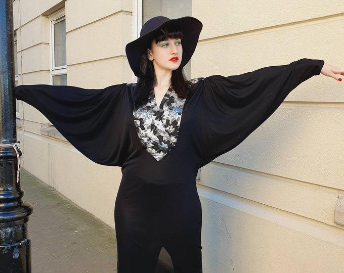 Vintage 70s 80s Avant-Garde Huge Dolmain Wing Sleeved Nu Wave Blitz Kid Metallic Black Dress By Tiger S M
