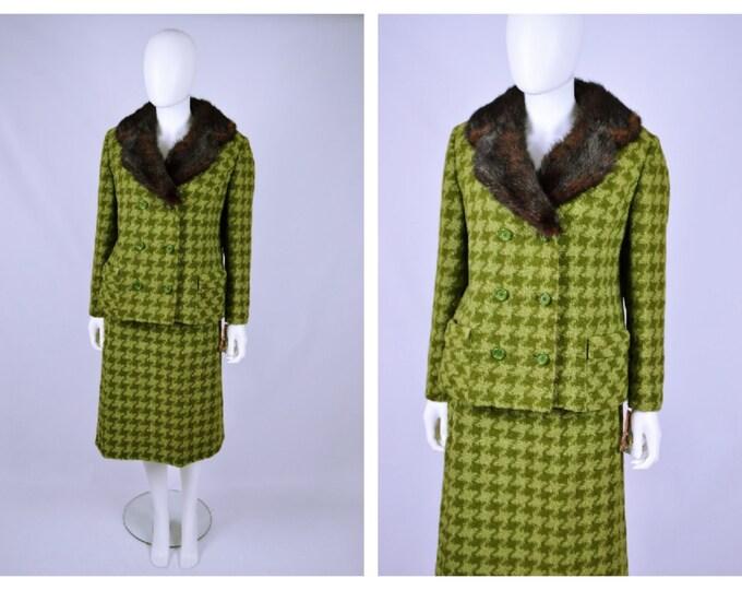 Vintage 1960's vtg 60's Mink Collar Green Houndstooth Tweed Wool Winter Suit 28 w 40 B