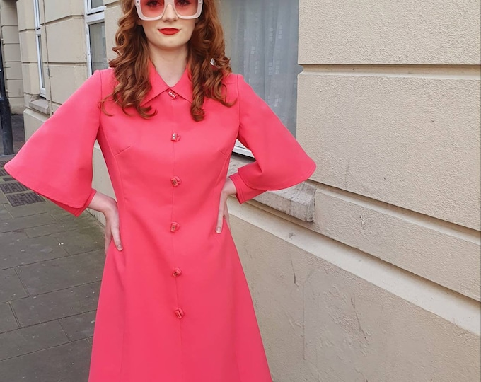 Vintage Couture 1960s 60s Peggy French Couture Pink Button Tailored Dress  with double layer sleeves Small