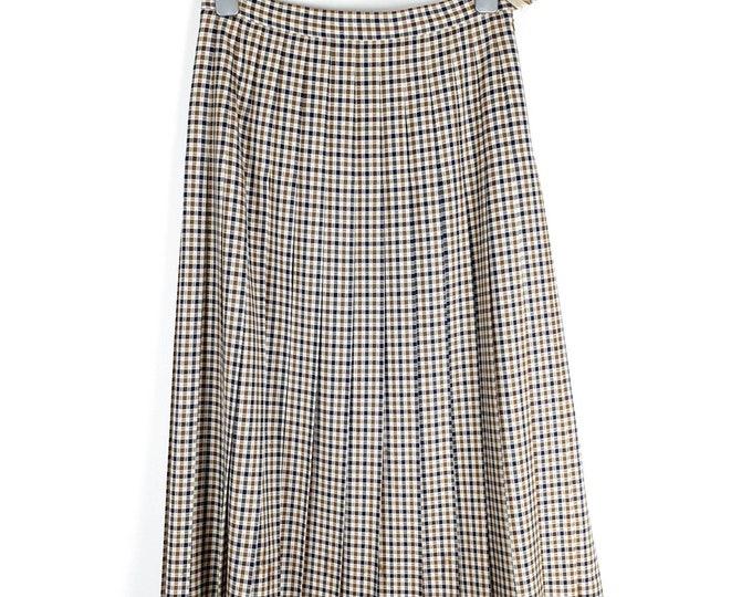Vintage 1980s 80s Classic British Aquascutum Knee Length Wool Check Pleated Skirt - M