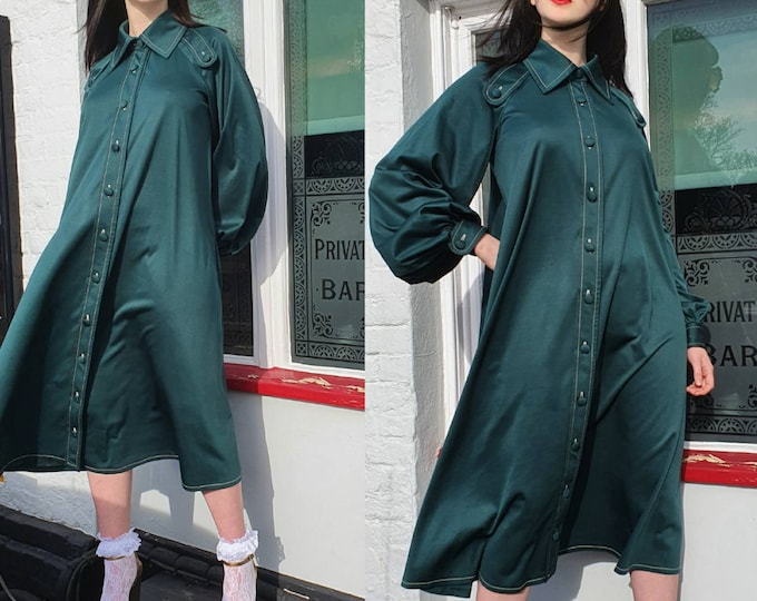 Vintage VTG JEAN VARON 1970s 70s  Forest Green Button Down Midi Tent Dress with Pockets Balloon Slvs  S M L