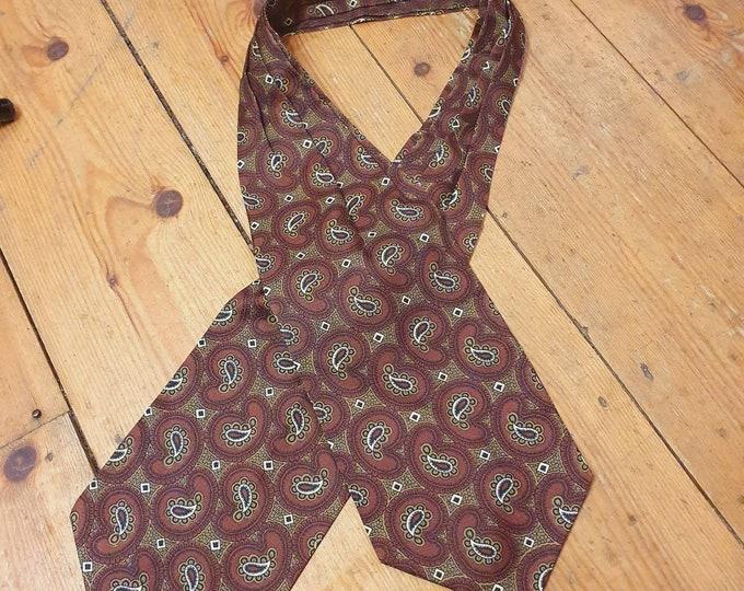 Vintage 60s 1960s Mod  Paisley Print Brown Khaki and White Tricel Sammy Cravat Scarf Tie