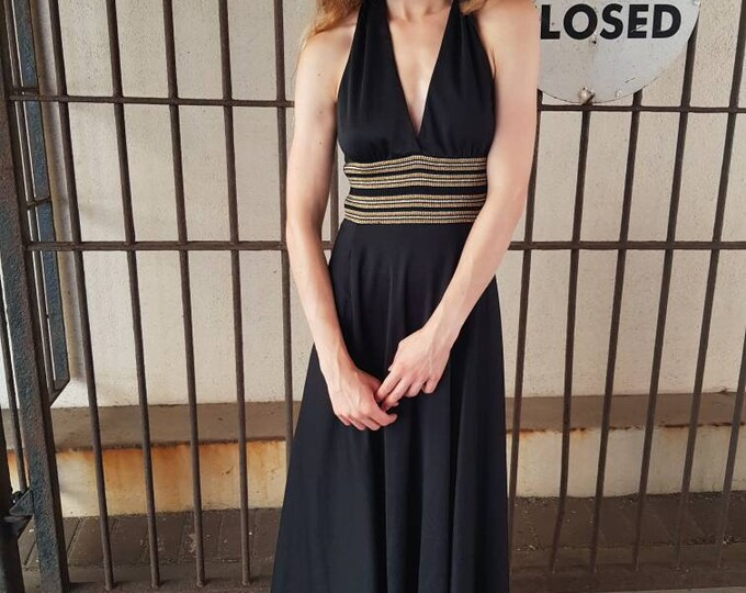 Vintage 70s Backless Black Disco Studio 54 Metallic Halter neck maxi dress by Lord and Taylor Xs S