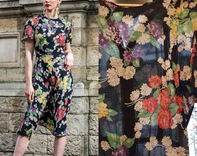 Beautiful Vintage late 30s 1930s Black Floral Semi Sheer Knee Length Dress S