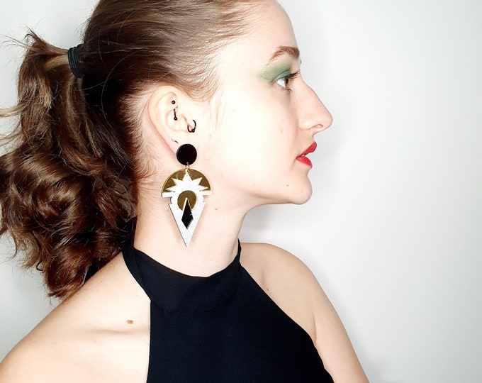Oversized Acrylic Earrings In White and Gold for pierced ears