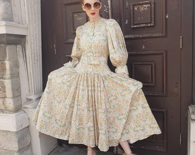 Incredible Vintage 1980s 80s Droopy and Browns Liberty Lodden Tana Lawn Cotton Dress Sleeve Porn Belted Midi Dress Pockets Full Skirt S
