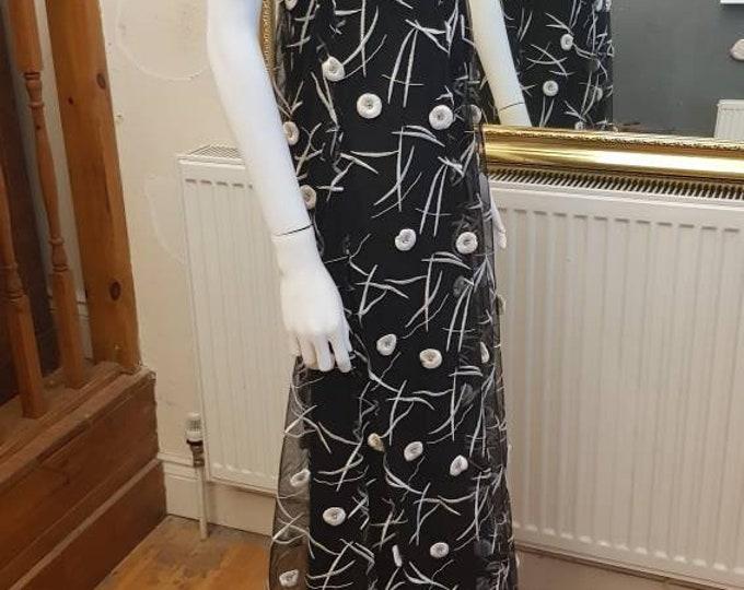 Vintage Hardy Amies 60's 1960's Black Column Dress White 3D Floral Decoration Embroidered  Low Back M Maxi VTG Diamonte Trim