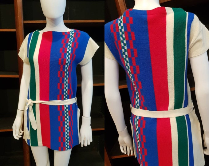 Vintage 70s 1970s Vibrant Acrylic Knit Long Length Tunic Top Vtg Tie Belt M
