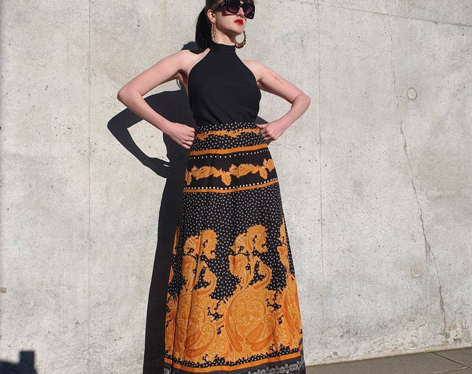 Amazing Vintage VTG  1970s 70s Black and Orange Paisley and Polka Dot High Waisted Maxi Skirt  M 10