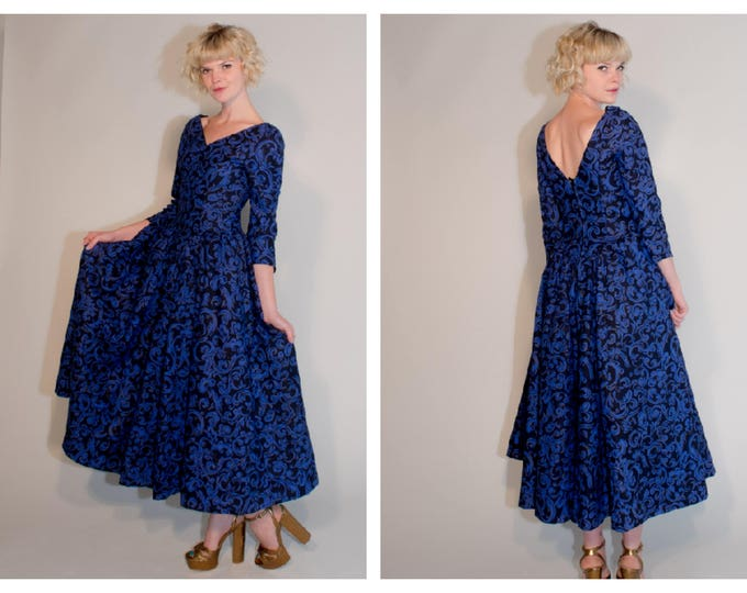Vintage 80s does 50s Laura Ashley Full Skirt Party Cocktail Dress With Low Back and Net Skirts.Heavy Cotton 26 inch Waist