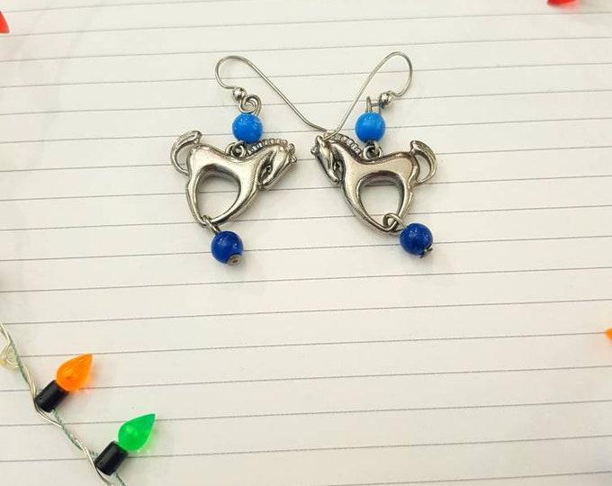 Vintage 70s Dala Scandinavian Silver Metal Horse Earrings Pierced Ears 1970s beads
