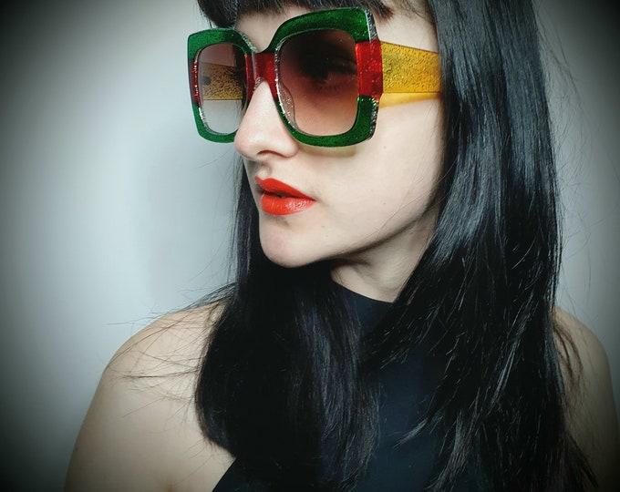 Amazing Chunky Glittery Green Red and Yellow Oversized Sunglasses