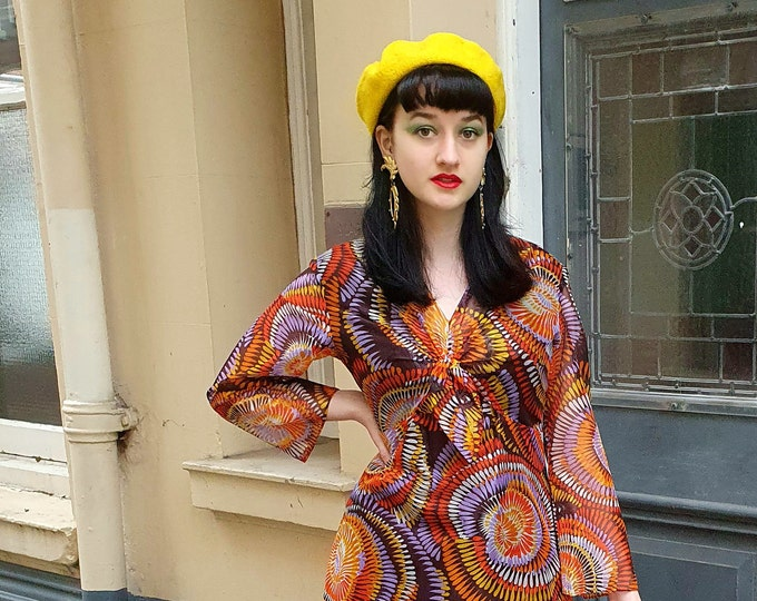 Yellow Wool Mix Beret One Size Brand New