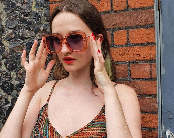 Amazing Vintage 1970s Style Chunky Oversized Sunglasses - Copper