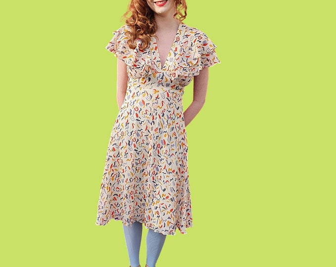 Vintage 1970s 70s Celia Birtwell Ossie Clark Radley Floaty Chiffon Knee Length Dress Cape Sleeves Open Back S XS
