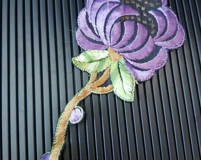 Vintage 1930s Turmac CA silk applique Purple art nouveau  Flower Patch large