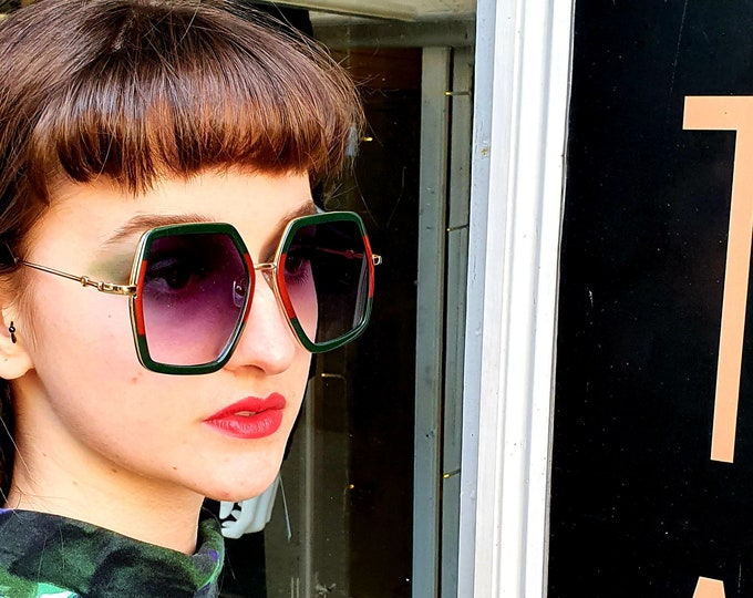 Designer style -Red and Green - Oversized 1970s style Sunglasses