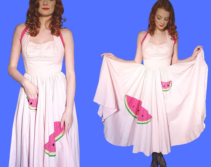 Amazing Vintage Original 1950s 50s Baby Pink Cotton Full Circle Skirt Halterneck Dress with Vibrant Watermelon Applique and Tie Back  XS S