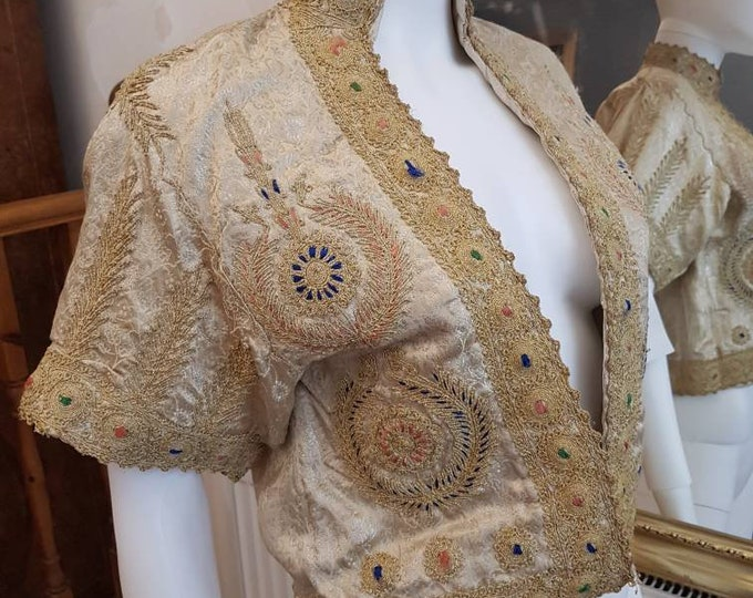 Pretty Champagne Vintage 1950s 50s Heavy Embroidered Brocade Bolero Shrug Jacket M